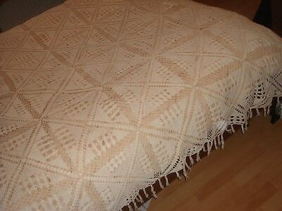 vintage hand made crochet white cotton bedspread cover lace vgc antique style