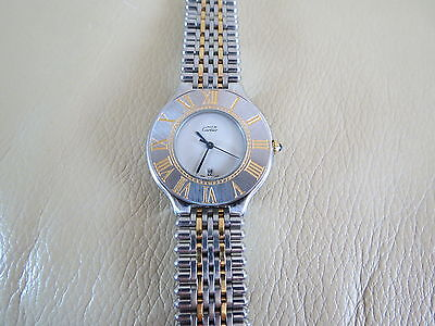 Must De Cartier 21 18K Gold & Stainless Steel Watch !!! Rare Model with Date !!! for sale  Shipping to South Africa