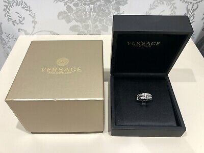 VERSACE FINE JEWELLERY MEANDROS W GOLD DIAMOND RING + BOX & PAPERS LIMITED PIECE