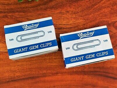 Vintage Noesting Gem Giant 2 Paper Clips Lot Of 2 Boxes Of 100 Count Each Usa
