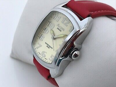 Activa Swiss Women Watch Analog Red Genuine Leather Band Swiss Movt Water Resist