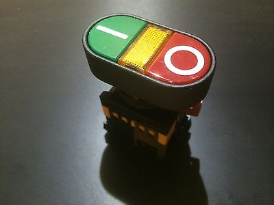 Start/Stop Or On/Off Pushbutton 600v Max Lamp Is 220v Red Green 22mm Hole NICE!