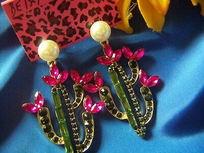 -  Pink & Green Crystal Rhinestone Cactus Dangle Earrings Betsey Johnson NEW