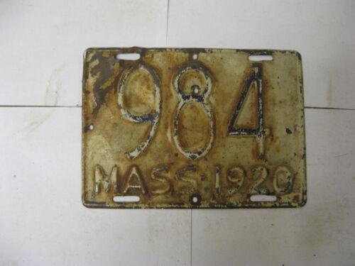 1920 20 MASSACHUSETTS MA MASS MOTORCYCLE MC LICENSE PLATE #984 HARLEY BIKE