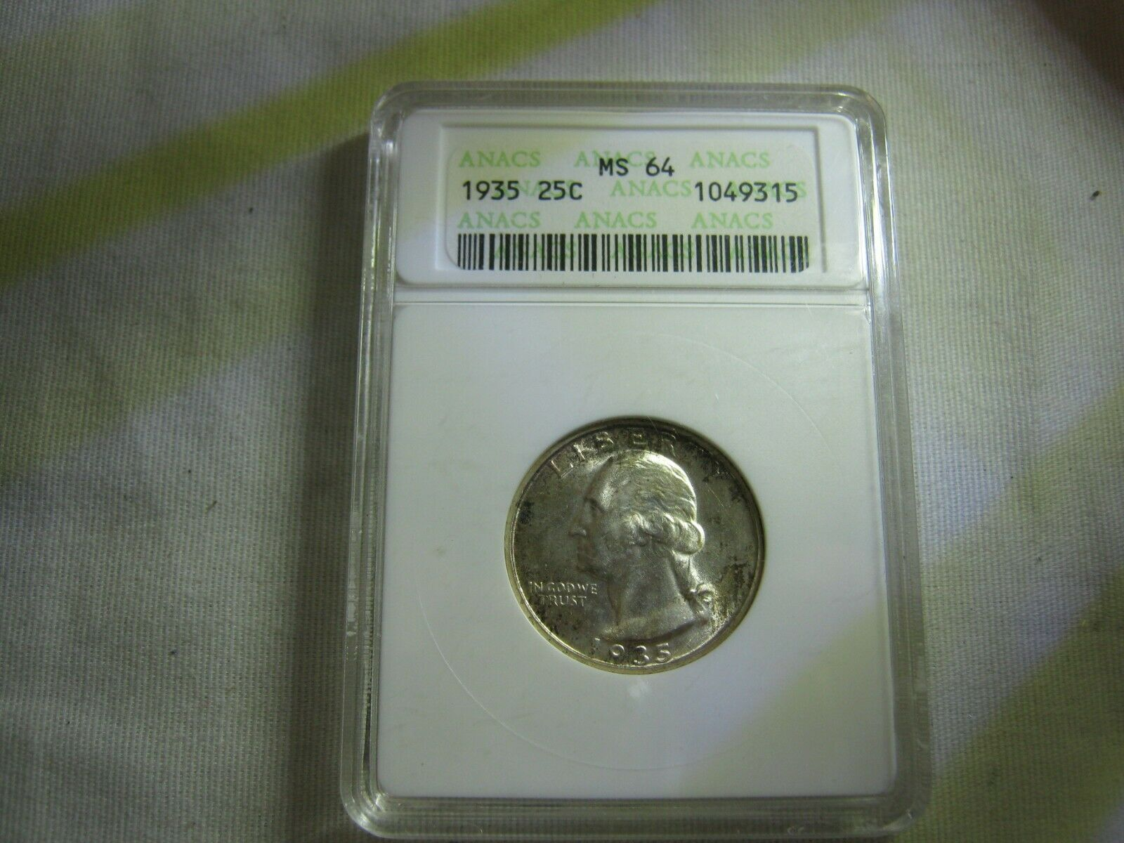 1935 Washington Quarter ANACS MS-64 - $50.00