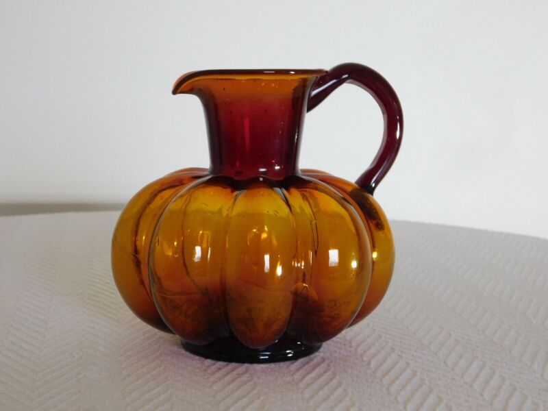 Vintage Amber Glass Melon Shaped Blown Pitcher W/Applied Handle