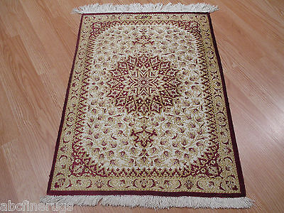 2x3 SIGNED VERY Fine 100% SILK Persian QUM Intricate Handmade-Knotted Rug 580100