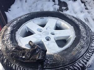 Set of 5 Jeep Wrangler rims with tires