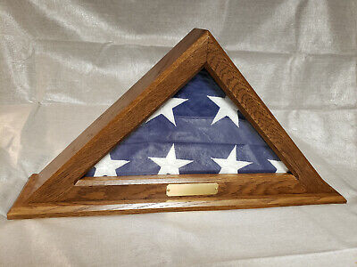 Solid Oak American Flag Display Box Case Military Veteran Shadow Box Funeral, used for sale  Shipping to South Africa