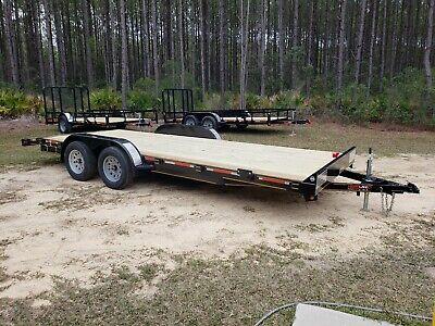 New 2020 7 X 20 7k Flatbed W Dovetail Wood Deck Open Car Hauler Utility Trailer