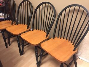 FOUR WOODEN KITCHEN CHAIRS - Emerald Green & Pecan - NEED TLC
