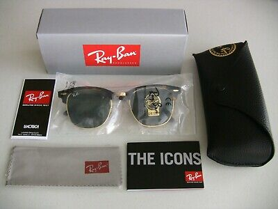 Ray Ban Clubmaster 3016 Sunglasses Tortoise/Gold Frame 51mm - Brand (Ray Ban Clubmaster Men)
