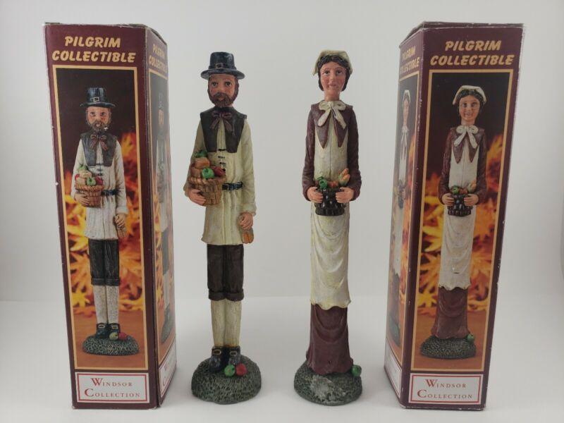 "Pilgrim Harvest Windsor Collection Male And Female Figures Figurines 12"" Vintage"
