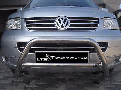 VW T5 T6 TRANSPORTER CHROME NUDGE A-BAR, STAINLESS STEEL BULL BAR 2003 UP W K