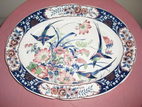 "Vintage Toyo Japanese Porcelain 16.5"" Serving Plate Platter Birds Flowers"