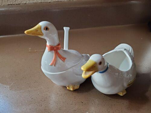Vintage 1983 Otagiri Japan Ceramic Duck  Creamer And Sugar Dish