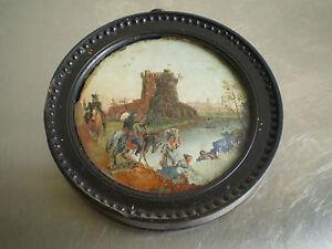 Fixe sous verre ancien xix s peinture miniature soldat russe 1814 cosaque emp - Fixe sous verre ancien ...