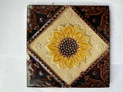 "Victorian fireplace tile Antique 6x6 "" Inch Sunflower Brown Yellow"