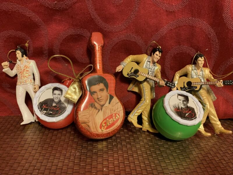Lot Of 6 ELVIS PRESLEY Collectible Christmas ORNAMENTS