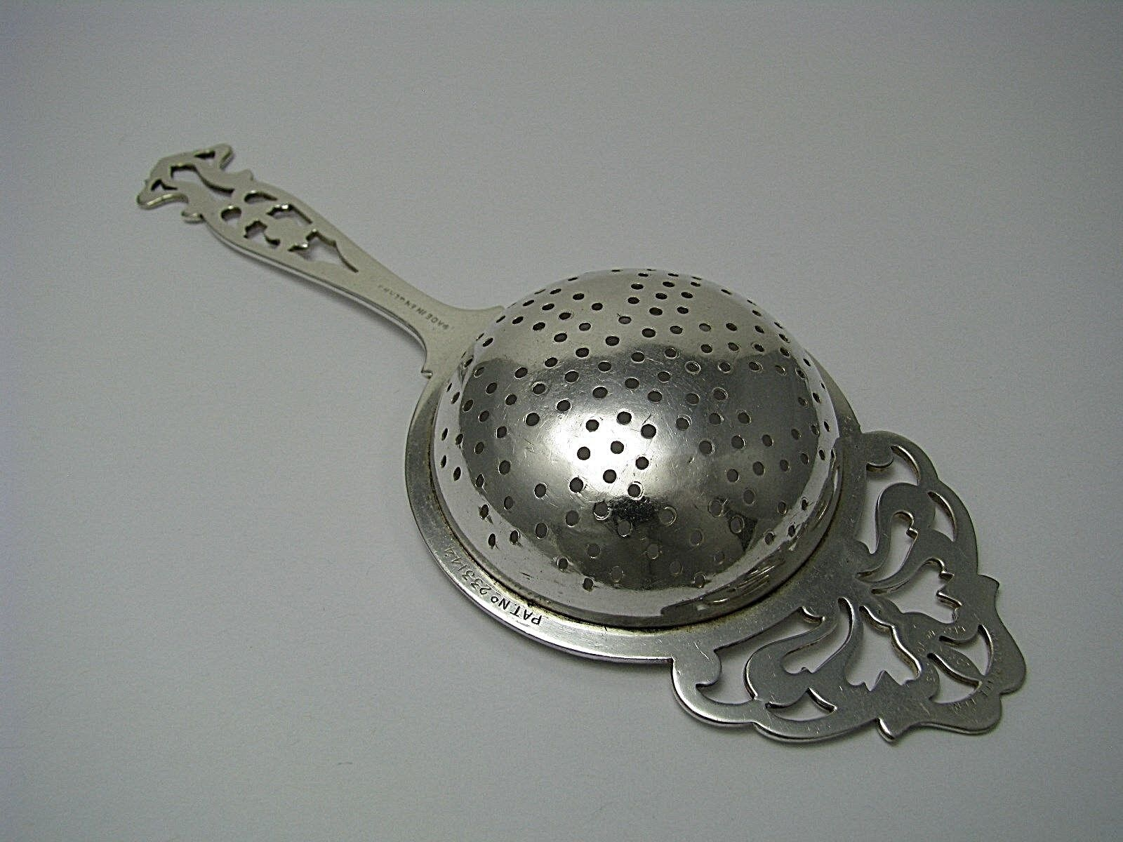 SILVER PLATED TEA STRAINER SIFTER SERVING SPOON By William Sucking England C1924 - $145.00