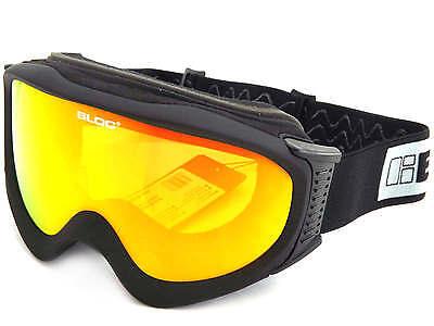 Bloc - Ice Ski Snowboardbrille Matt Schwarz/Rot Spiegel Cat.3 Lens Ice03 ()