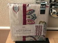 Next Watercolour Paisley Print Eyelet Curtains 135 X137cm - next - ebay.co.uk