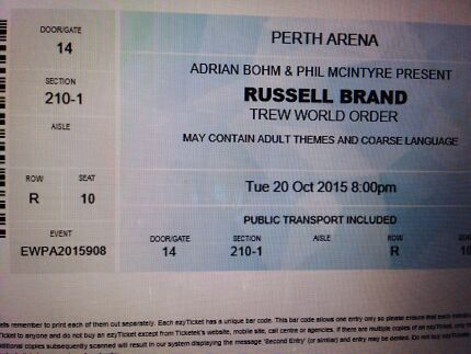 Russell Brand Tickets x2 Armadale Armadale Area Preview