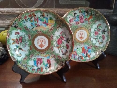 Antique Chinese Porcelain Bowls Two Rose Medallion Armorial