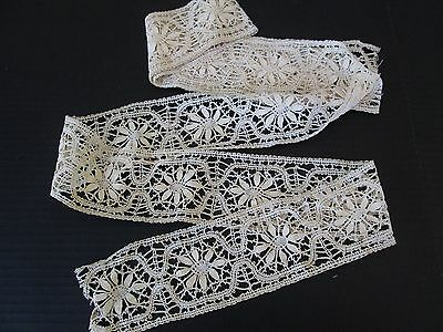 2 3/4 YARDS ANTIQUE WIDE HAND MADE LACE TRIM/ INSERTION ..ANTIQUE DOLL CLOTHING