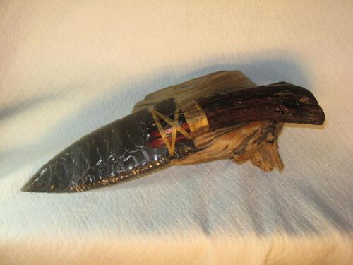 Gun Metal Gray Obsidian Fox Ear Knife Manzanita Handle COA Flint Knapping