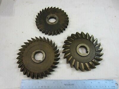 Lot Of 3 Straight Tooth Horizontal Milling Cutters 1 14 Arbors 6  5 12 Od