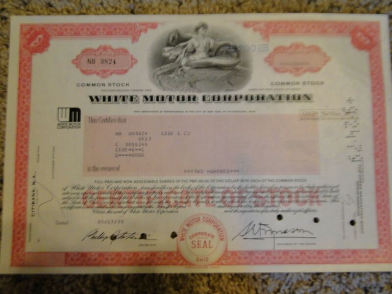 White Motors Corporation Stock Certificate-200 Shares