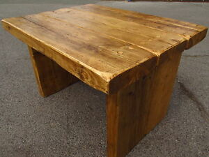 Reclaimed Coffee Table Wood Rustic Shelves Top Pine Chunky Ebay