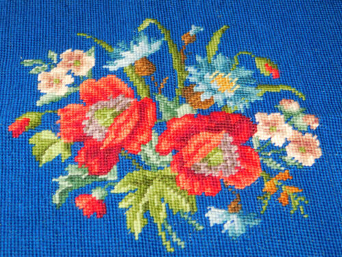 Completed Vintage Needlepoint Canvas Floral Blue Red Poppies GORGEOUS