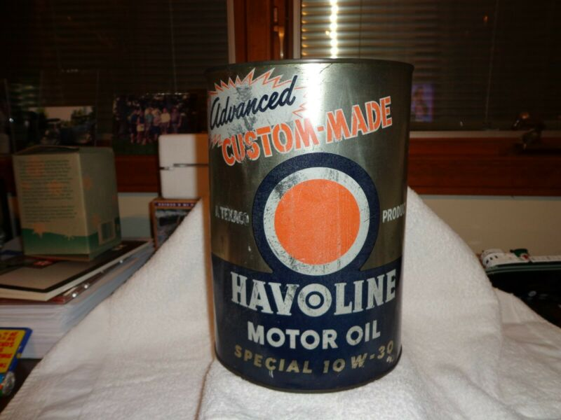 "Rare Texaco Havoline 5 QT Special 10W30 ""Advanced"" Custom-Made Motor Oil 50"