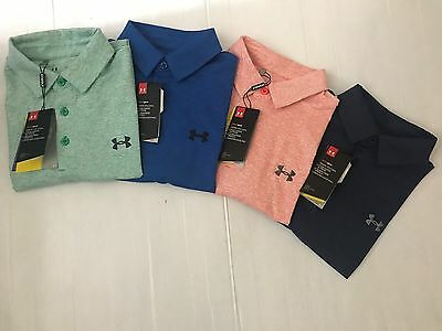 NEW UNDER ARMOUR MEN LOOSE HEAT GEAR STRIPED GOLF S/S SHIRT SZ S_2XL $54.99 NWT