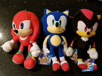 """NEW! Sonic the Hedgehog Large 12"""" Plush Sonic & Knuckles & Shadow -  All Three"""