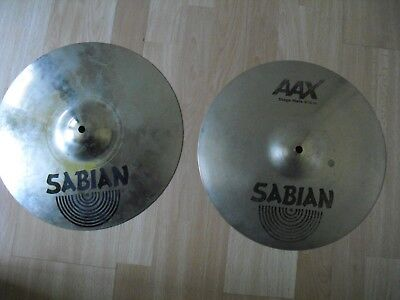 "Used, 14"" Sabian AAX Stage Hi Hats HiHats Cymbals brilliant finish 1065g 1525g for sale  Shipping to Canada"