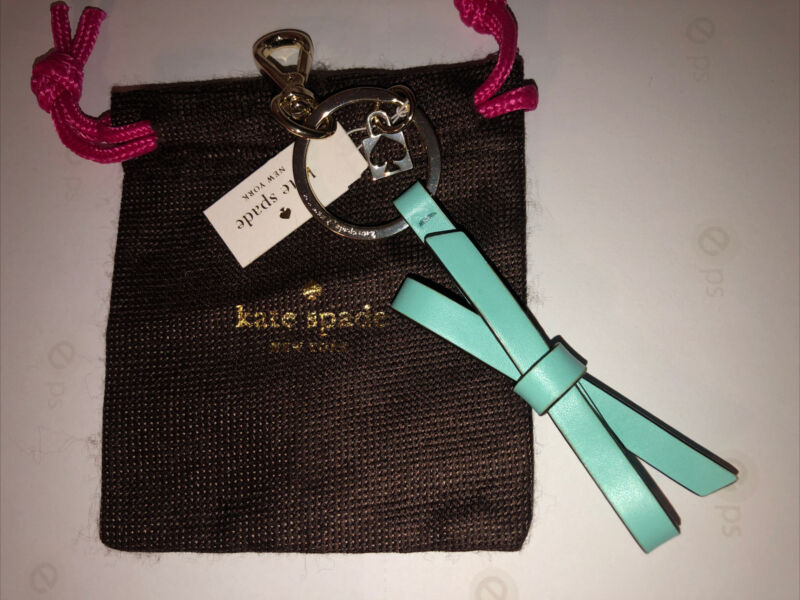 Kate Spade Robbins Egg Blue Leather Bow Keychain NWT