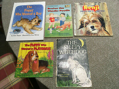 LOT OF 5 KIDS BOOKS ABOUT DOGS PUPPIES early readers, some retro, Golden, Thayer, used for sale  Utica