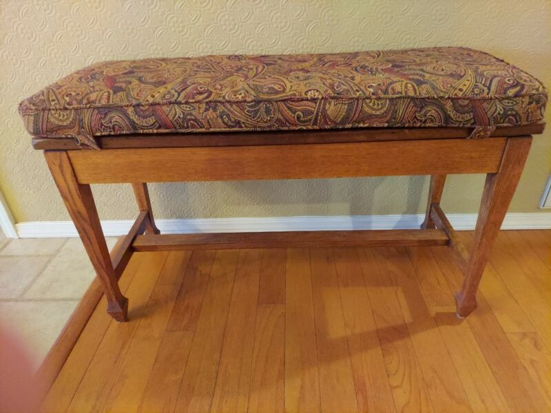 """Vintage Wooden Piano Bench w/Storage 38"""" long Upholstered"""