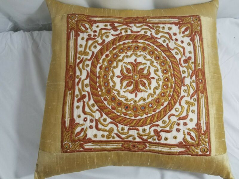 India Silk Square Feather Pillow, Gold & Orange