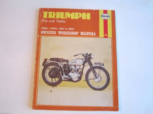 1982 TRIUMPH PR-UNIT TWINS 498CC - 649CC 1947-1962 OWNERS WORKSHOP MANUAL -BN-12