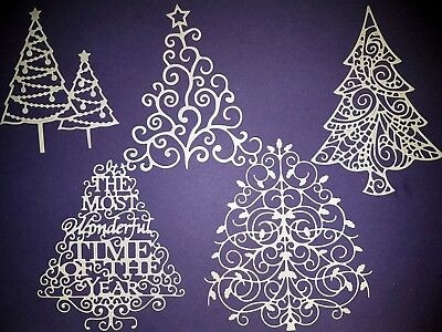 10 x Tattered Lace Christmas Tree Die Cuts - Card Making, Scrapbooking etc.