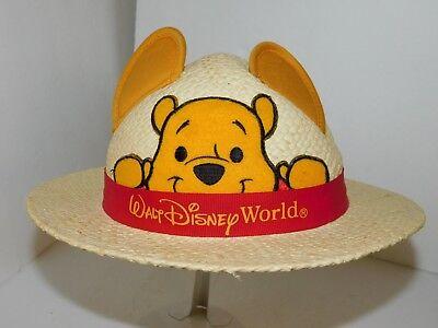 Disney World Kids Hat Winnie The Pooh Straw Cap Souvenir Parks Vacation