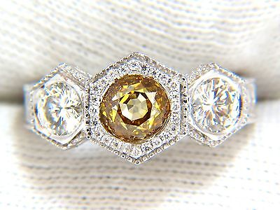 GIA 2.30CT FANCY YELLOW BROWN DIAMONDS RING 18KT EDWARDIAN CROWN DECO+ 9