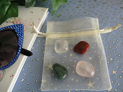 New April Birthstone Natural Gemstone Set of 4 Tumbled Stones w