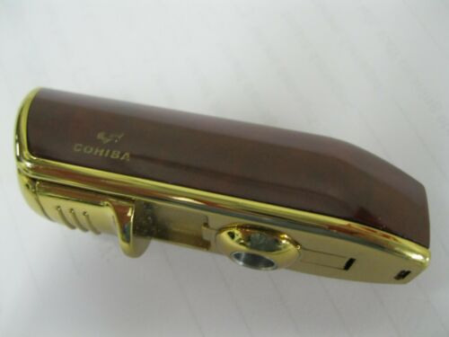 AUTHENTIC SIGNED COLIBRI GOLD 3-TORCH JET FLAME LIGHTER WITH CIGAR CUTTER PUNCH