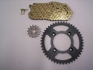 HONDA XR80R NEW SPROCKET & GOLD CHAIN SET 14/46  85 - 03 STK GEAR RATIO