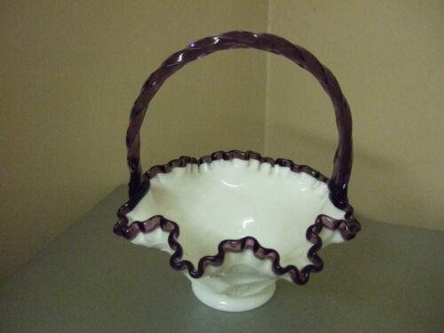 Bill Fenton Art Glass Basket Handpainted by Susan Bryan